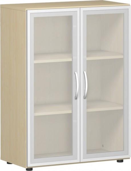 Flügeltürenschrank Flex mit Glastüre 3 Ordnerhöhen 80 x 42 x 110,4 cm mit Justierfüßen u. Türdämpfer