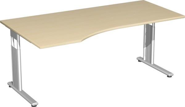 PC-Schreibtisch links, höhenverstellbar, rechts verkettbar Serie Flex (ehem. Lissabon) 180 x 68-80 x