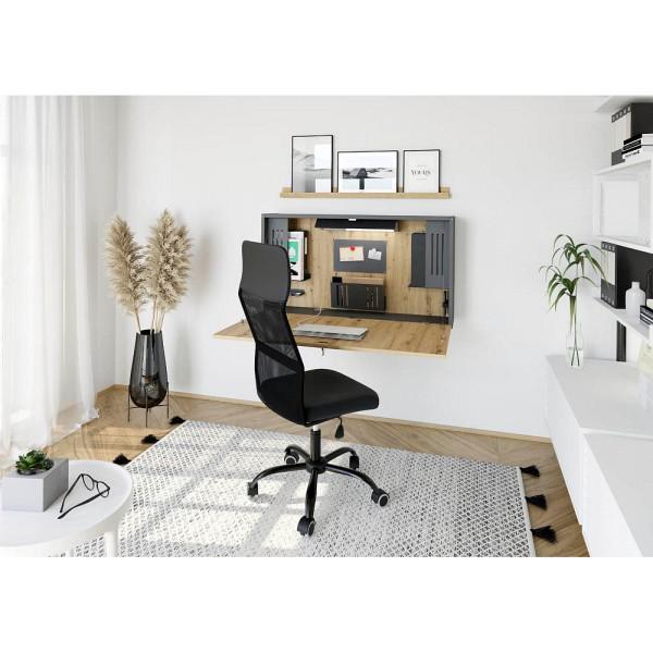 Wandschreibtisch WO12 rechteckig mit klappbarer Tischplatte und LED-Leuchte, Breite 120 cm