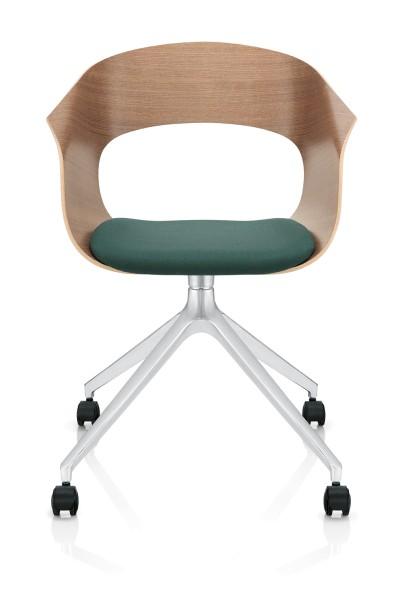 Bonito Konferenzstuhl- Besucherstuhl, Design Züco Fußkreuz auf Rollen mit gepolsterten Sitz