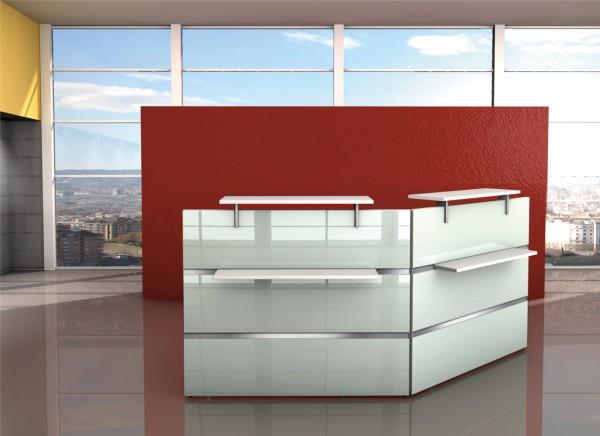 Empfangstheke mit Arbeitsplatz Atlantis im Edelstahl & Glas Design