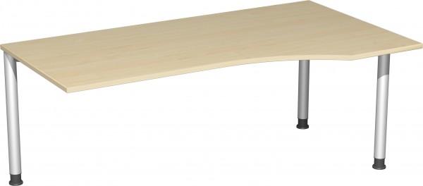 PC-Schreibtisch rechts, höhenverstellbar, links verkettbar Serie 4 Fuß Flex 180 x 68-80 x 80-100 cm