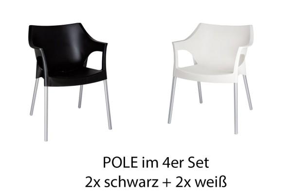 POLE 4er Set schwarz-weiß