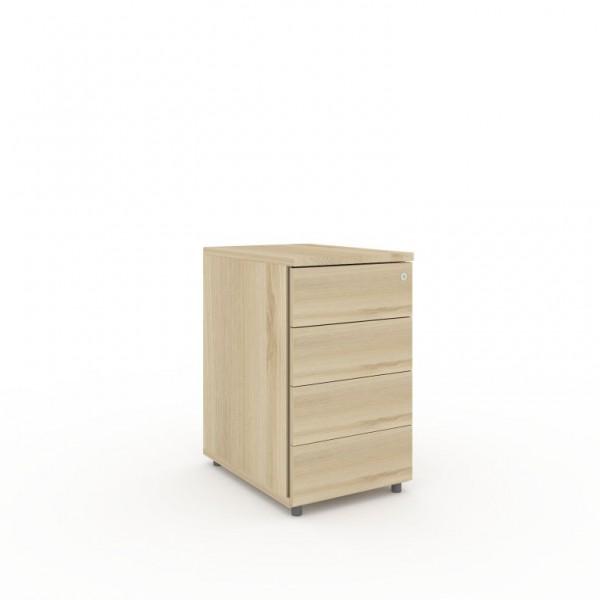 Container mit 4 Kunststoffschubladen und Kunststoffauszügen 428x600xH735 mm