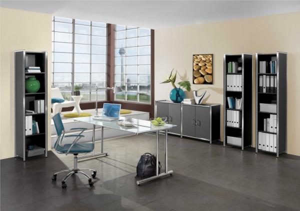 Schreibtisch 160x80x72 cm mit Glasplatte C-Fußgestell in Chrom