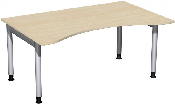 Schreibtisch Ergonomieform Serie 4 Fuß Pro 160x100x68-82 cm Geramöbel