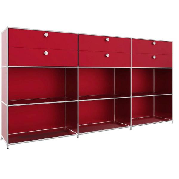 Sideboard viasit System4 mit 6 Fachböden und 6 Schubladen für optimalen Stauraum